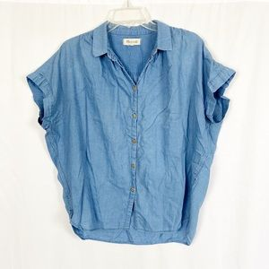 Madewell chambray blue denim boxy fit top M